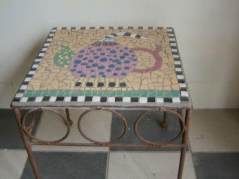 Plak Mozaiek Badkamer ~ tafeltje voorbeeld 1 daagse workshop moza?eken